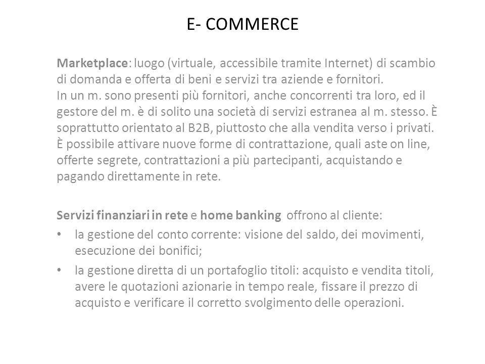 E- COMMERCE Marketplace: luogo (virtuale, accessibile tramite Internet) di scambio di domanda e offerta di beni e servizi tra aziende e fornitori. In