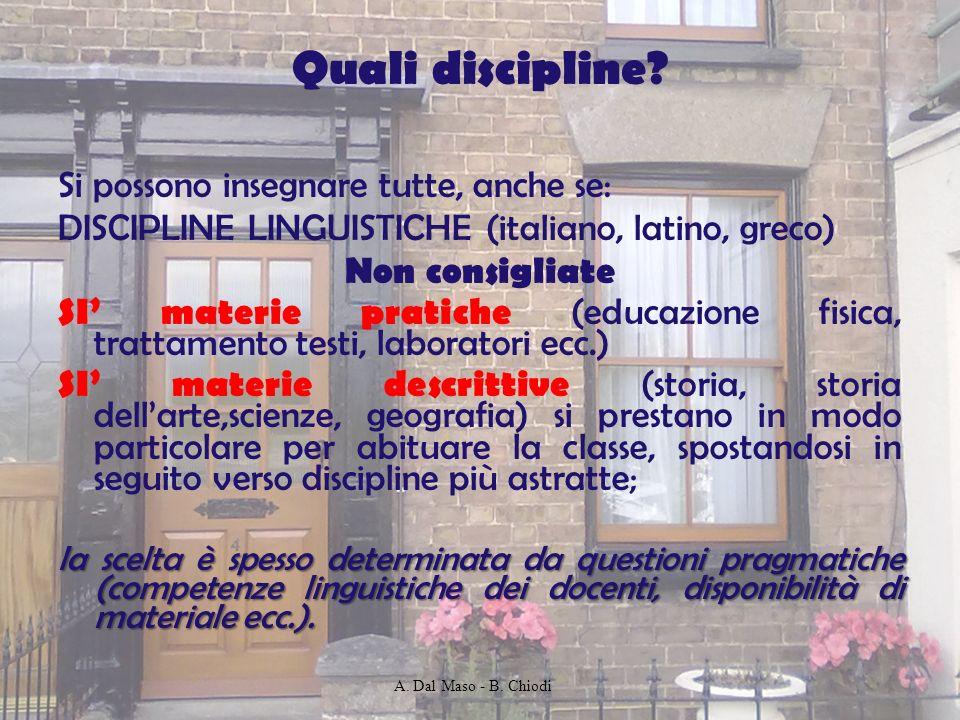 Quali discipline? Si possono insegnare tutte, anche se: DISCIPLINE LINGUISTICHE (italiano, latino, greco) Non consigliate SI materie pratiche (educazi