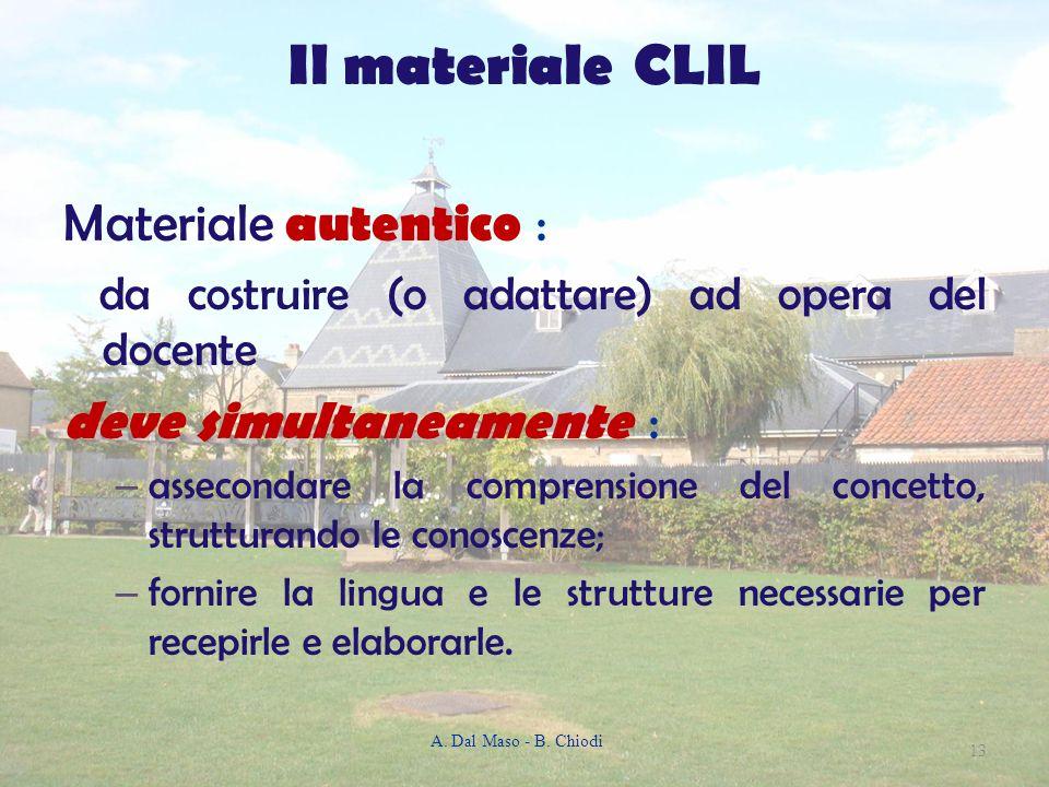 Il materiale CLIL Materiale autentico : da costruire (o adattare) ad opera del docente deve simultaneamente : – assecondare la comprensione del concet