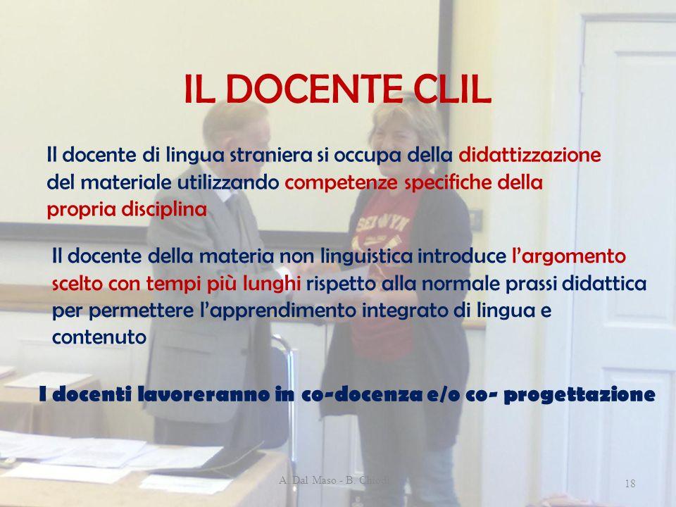 IL DOCENTE CLIL A. Dal Maso - B. Chiodi 18 Il docente di lingua straniera si occupa della didattizzazione del materiale utilizzando competenze specifi