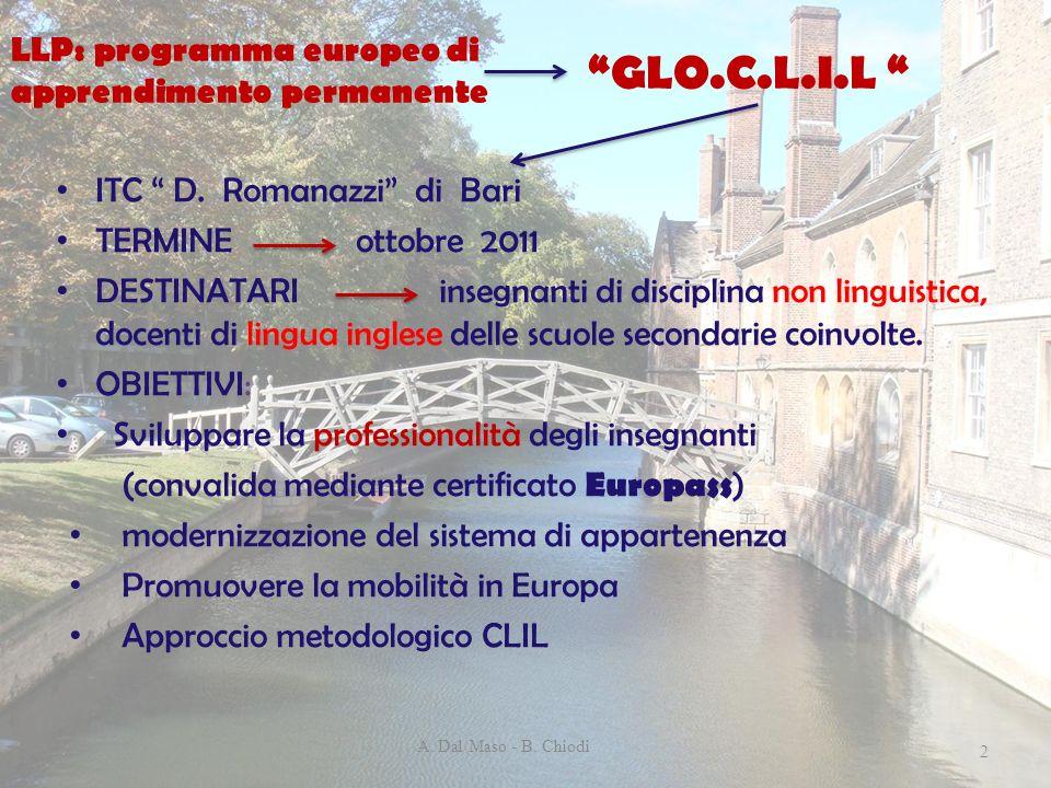 GLO.C.L.I.L ITC D. Romanazzi di Bari TERMINE ottobre 2011 DESTINATARI insegnanti di disciplina non linguistica, docenti di lingua inglese delle scuole