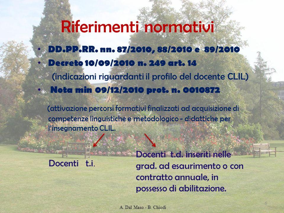 Riferimenti normativi DD.PP.RR. nn. 87/2010, 88/2010 e 89/2010 Decreto 10/09/2010 n. 249 art. 14 (indicazioni riguardanti il profilo del docente CLIL)