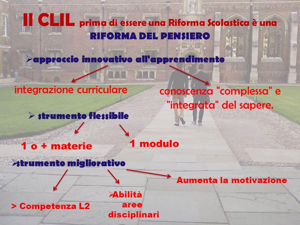integrazione curriculare Il CLIL prima di essere una Riforma Scolastica è una RIFORMA DEL PENSIERO approccio innovativo all'apprendimento uno che perm