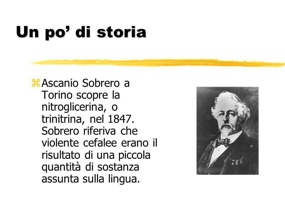 Un po di storia z Ascanio Sobrero a Torino scopre la nitroglicerina, o trinitrina, nel 1847. Sobrero riferiva che violente cefalee erano il risultato
