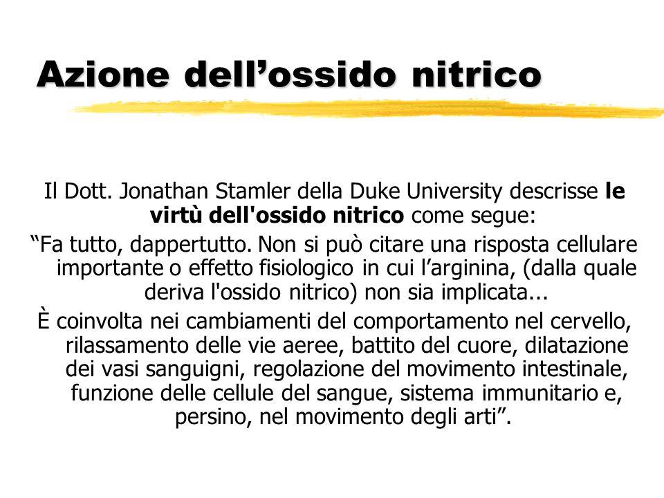 Azione dellossido nitrico Il Dott. Jonathan Stamler della Duke University descrisse le virtù dell'ossido nitrico come segue: Fa tutto, dappertutto. No