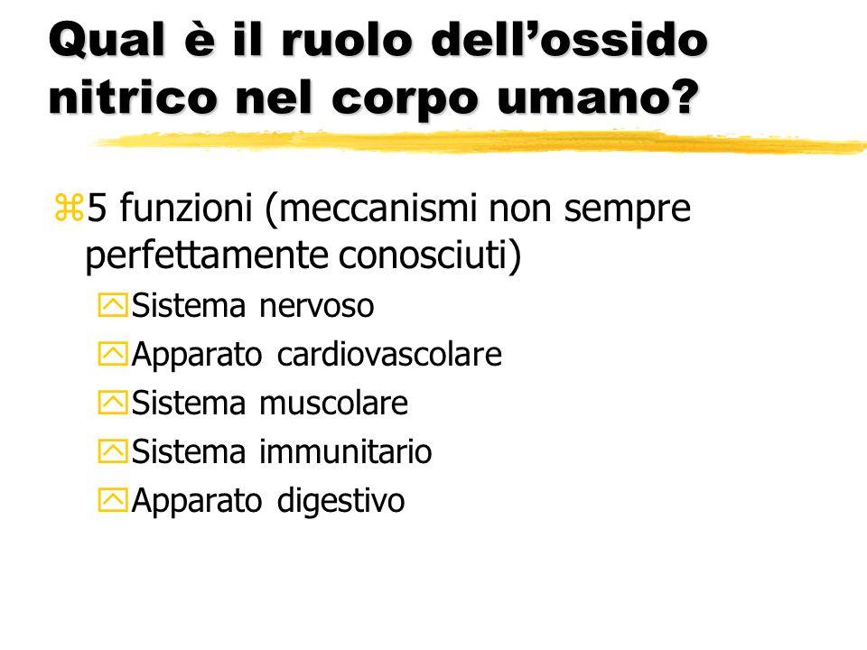 Qual è il ruolo dellossido nitrico nel corpo umano? z5 funzioni (meccanismi non sempre perfettamente conosciuti) ySistema nervoso yApparato cardiovasc