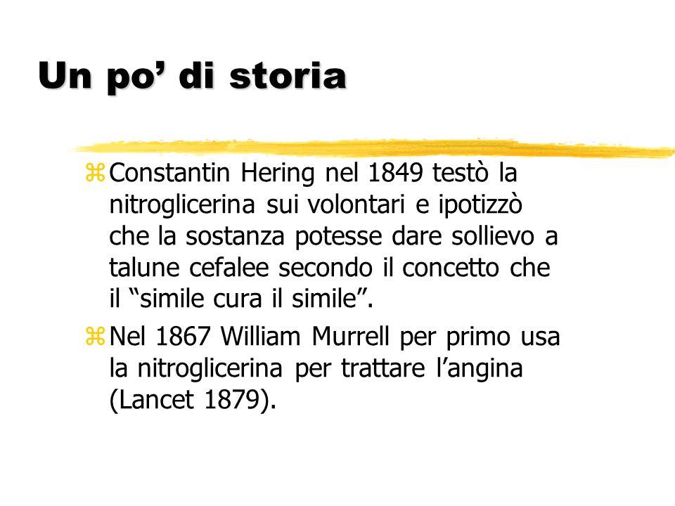 Un po di storia z Constantin Hering nel 1849 testò la nitroglicerina sui volontari e ipotizzò che la sostanza potesse dare sollievo a talune cefalee s