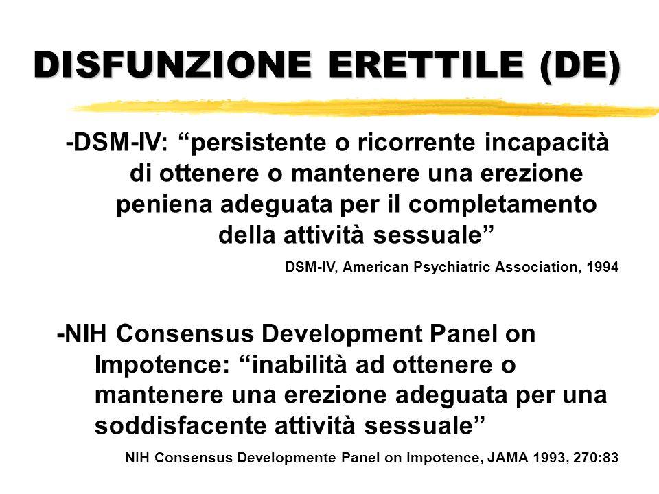 -DSM-IV: persistente o ricorrente incapacità di ottenere o mantenere una erezione peniena adeguata per il completamento della attività sessuale DSM-IV
