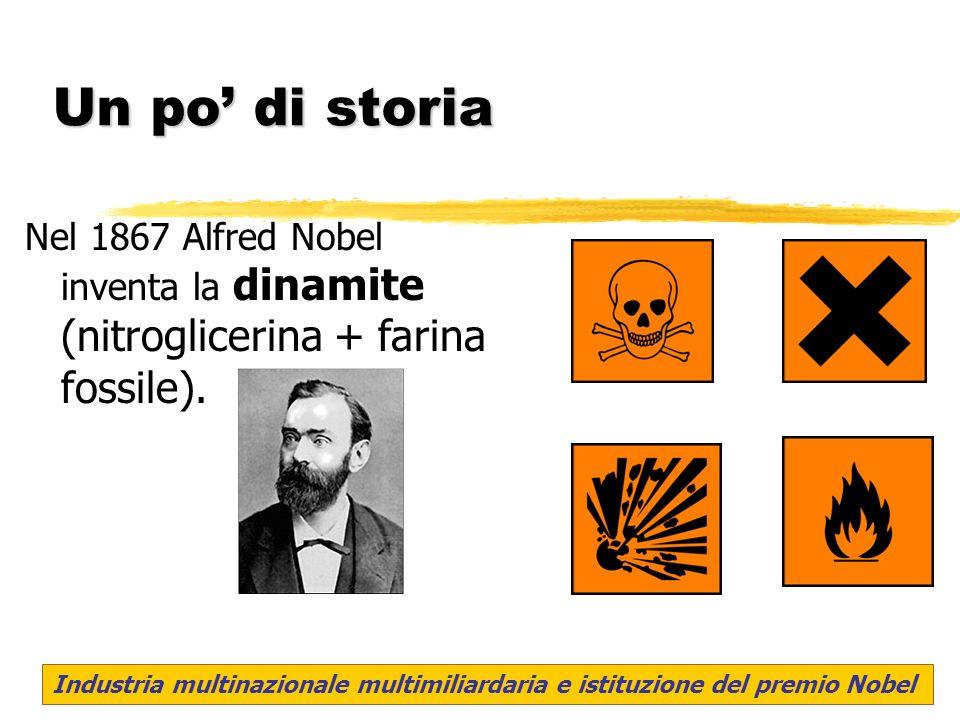 Un po di storia Nel 1867 Alfred Nobel inventa la dinamite (nitroglicerina + farina fossile). Industria multinazionale multimiliardaria e istituzione d
