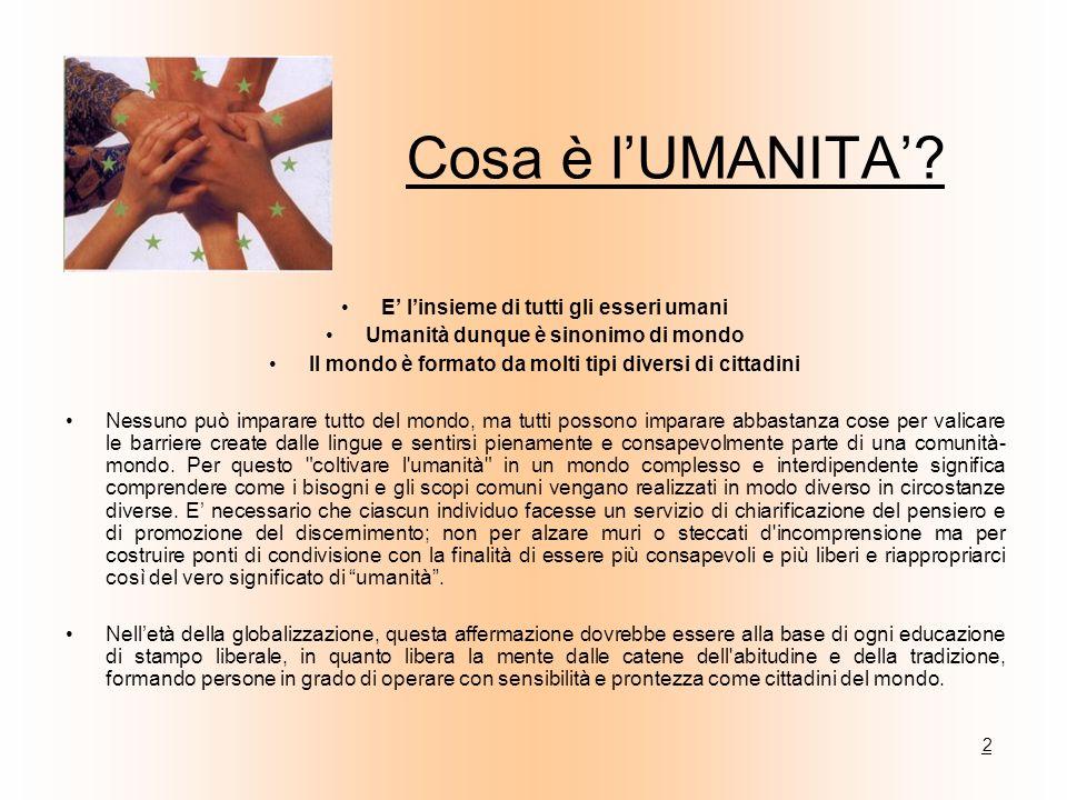 Cosa è lUMANITA? E linsieme di tutti gli esseri umani Umanità dunque è sinonimo di mondo Il mondo è formato da molti tipi diversi di cittadini Nessuno