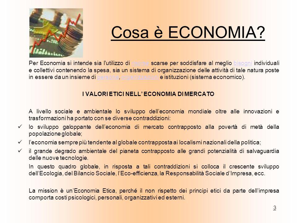 Per Economia si intende sia l'utilizzo di risorse scarse per soddisfare al meglio bisogni individuali e collettivi contenendo la spesa, sia un sistema