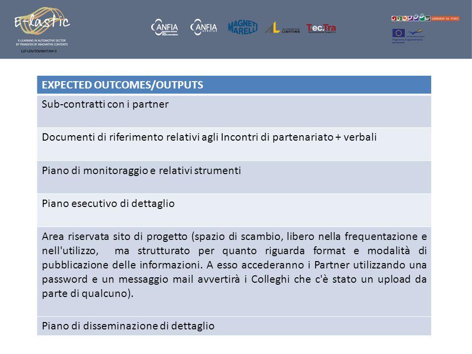 EXPECTED OUTCOMES/OUTPUTS Sub-contratti con i partner Documenti di riferimento relativi agli Incontri di partenariato + verbali Piano di monitoraggio