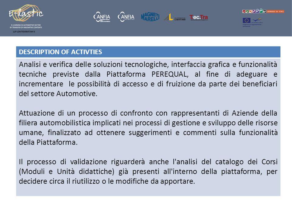 DESCRIPTION OF ACTIVTIES Analisi e verifica delle soluzioni tecnologiche, interfaccia grafica e funzionalità tecniche previste dalla Piattaforma PEREQ