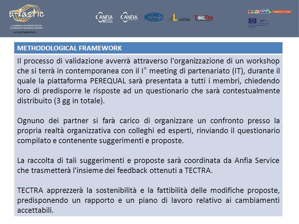 METHODOLOGICAL FRAMEWORK Il processo di validazione avverrà attraverso l'organizzazione di un workshop che si terrà in contemporanea con il I° meeting