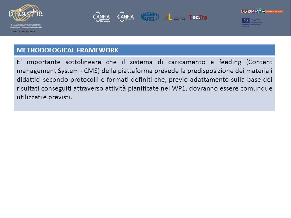 METHODOLOGICAL FRAMEWORK E' importante sottolineare che il sistema di caricamento e feeding (Content management System - CMS) della piattaforma preved
