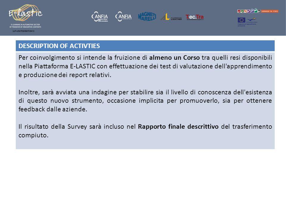 DESCRIPTION OF ACTIVTIES Per coinvolgimento si intende la fruizione di almeno un Corso tra quelli resi disponibili nella Piattaforma E-LASTIC con effe