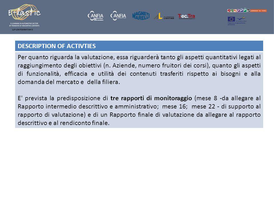 DESCRIPTION OF ACTIVTIES Per quanto riguarda la valutazione, essa riguarderà tanto gli aspetti quantitativi legati al raggiungimento degli obiettivi (