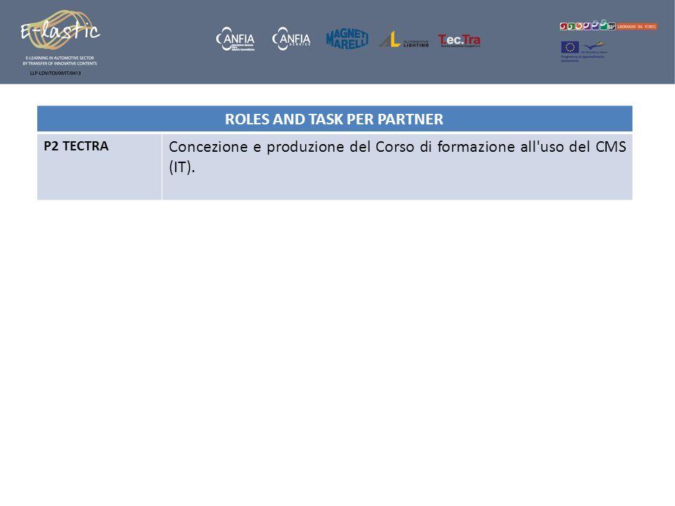 ROLES AND TASK PER PARTNER P2 TECTRA Concezione e produzione del Corso di formazione all'uso del CMS (IT).