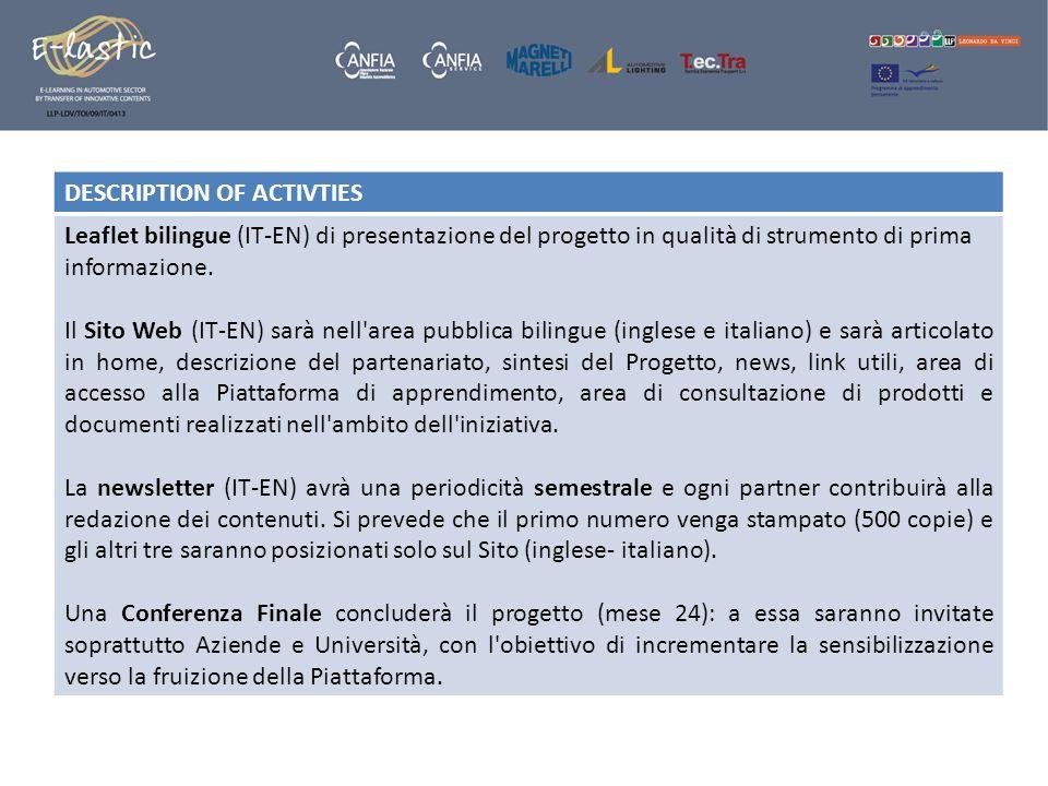 DESCRIPTION OF ACTIVTIES Leaflet bilingue (IT-EN) di presentazione del progetto in qualità di strumento di prima informazione. Il Sito Web (IT-EN) sar