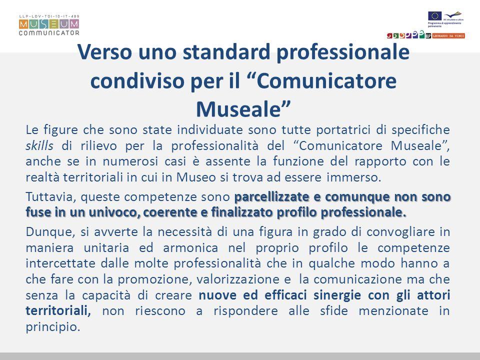 Verso uno standard professionale condiviso per il Comunicatore Museale Le figure che sono state individuate sono tutte portatrici di specifiche skills