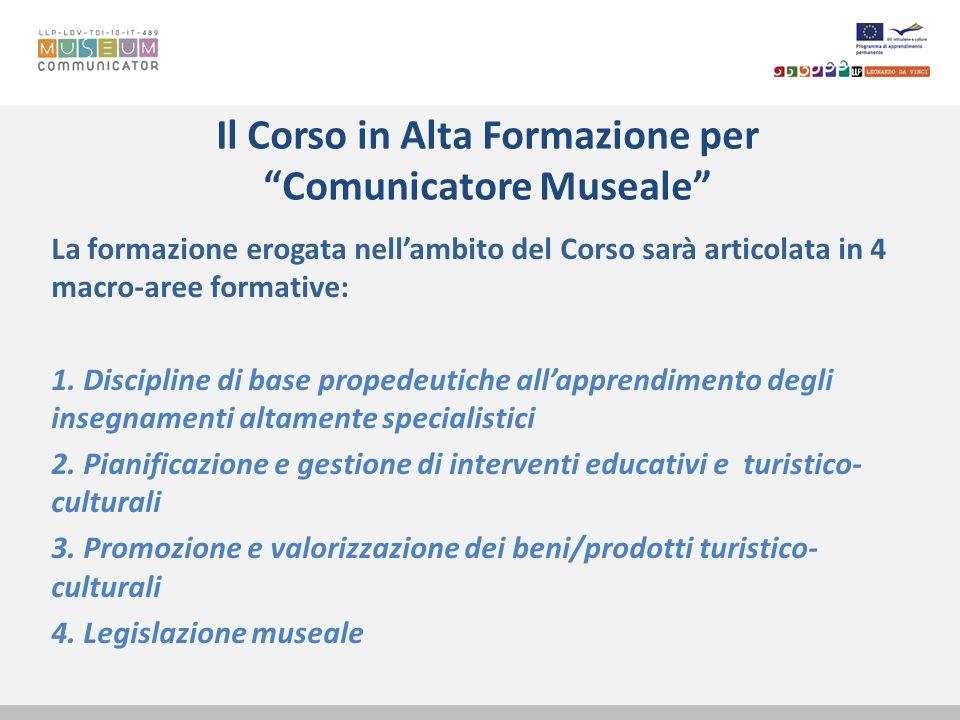 Il Corso in Alta Formazione per Comunicatore Museale La formazione erogata nellambito del Corso sarà articolata in 4 macro-aree formative: 1. Discipli