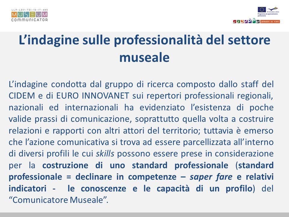 Lindagine sulle professionalità del settore museale Lindagine condotta dal gruppo di ricerca composto dallo staff del CIDEM e di EURO INNOVANET sui re