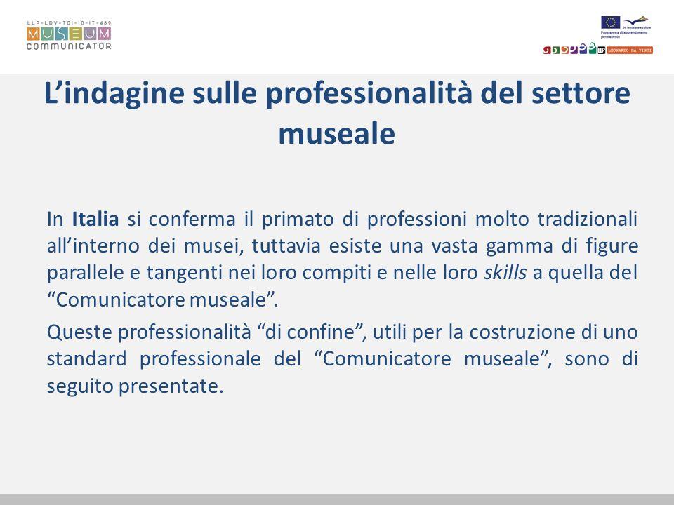 Lindagine sulle professionalità del settore museale In Italia si conferma il primato di professioni molto tradizionali allinterno dei musei, tuttavia