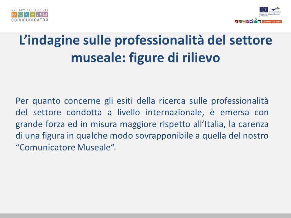 Lindagine sulle professionalità del settore museale: figure di rilievo Per quanto concerne gli esiti della ricerca sulle professionalità del settore c