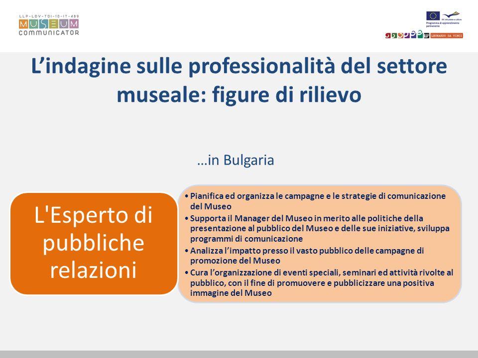 Lindagine sulle professionalità del settore museale: figure di rilievo …in Bulgaria Pianifica ed organizza le campagne e le strategie di comunicazione