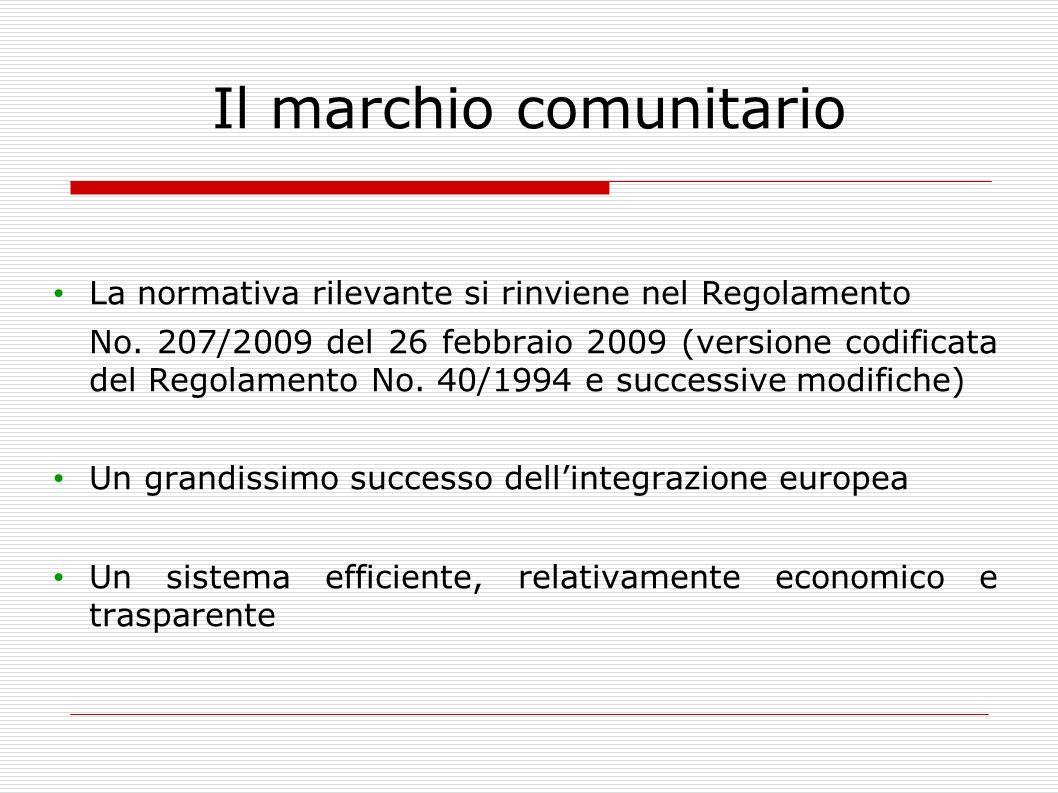 Il marchio comunitario La normativa rilevante si rinviene nel Regolamento No. 207/2009 del 26 febbraio 2009 (versione codificata del Regolamento No. 4