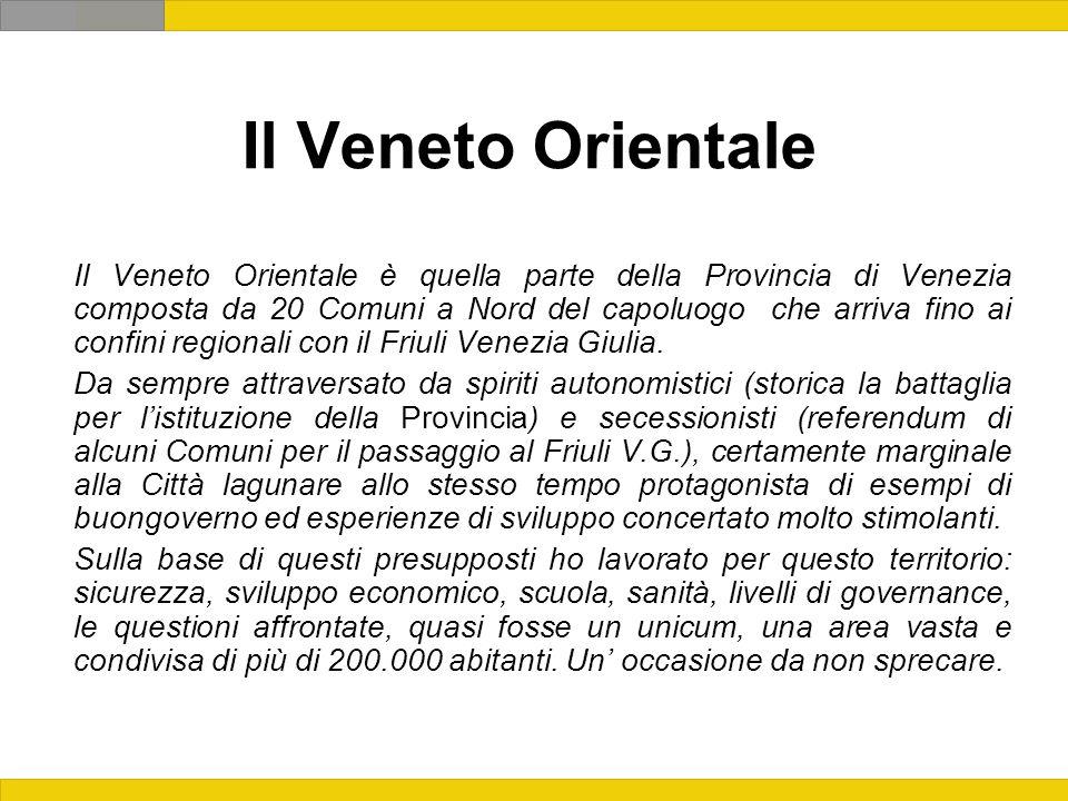 Il Veneto Orientale Il Veneto Orientale è quella parte della Provincia di Venezia composta da 20 Comuni a Nord del capoluogo che arriva fino ai confini regionali con il Friuli Venezia Giulia.