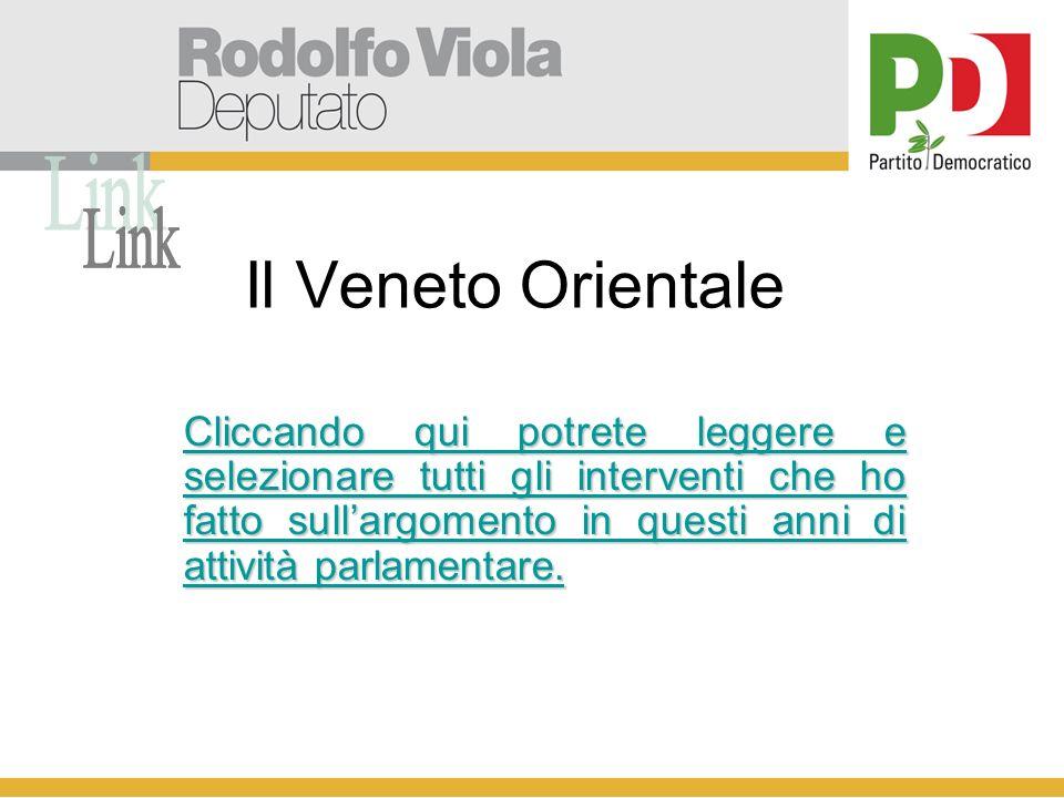 Il Veneto Orientale Cliccando qui potrete leggere e selezionare tutti gli interventi che ho fatto sullargomento in questi anni di attività parlamentare.
