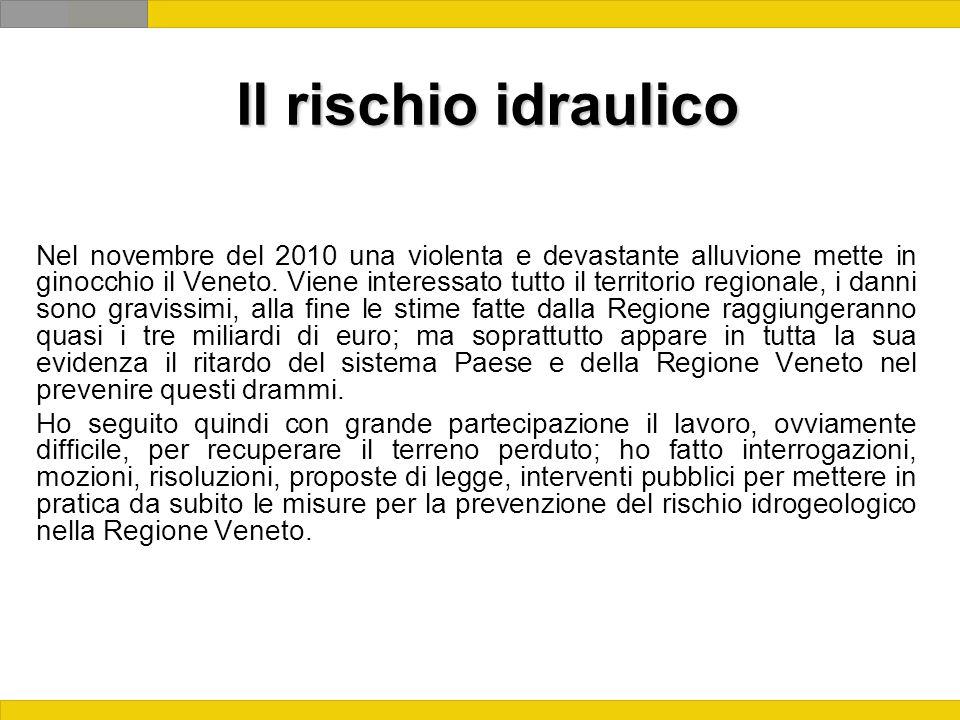Il rischio idraulico Nel novembre del 2010 una violenta e devastante alluvione mette in ginocchio il Veneto.
