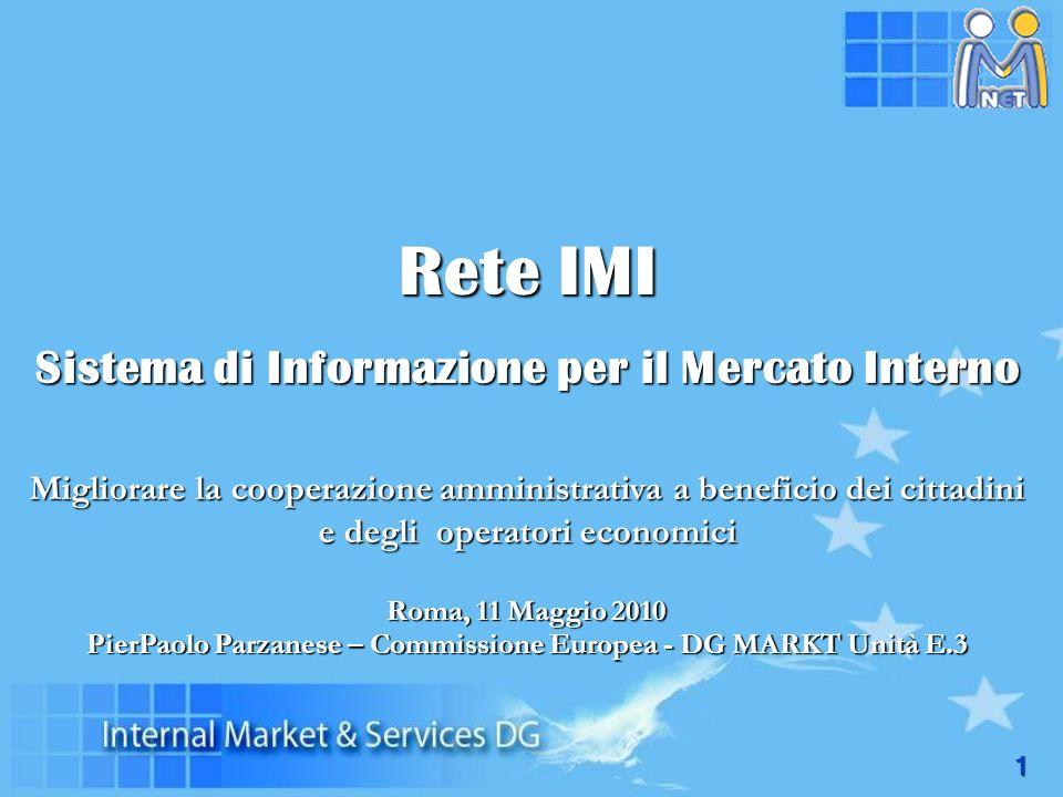 1 Rete IMI Sistema di Informazione per il Mercato Interno Migliorare la cooperazione amministrativa a beneficio dei cittadini e degli operatori econom