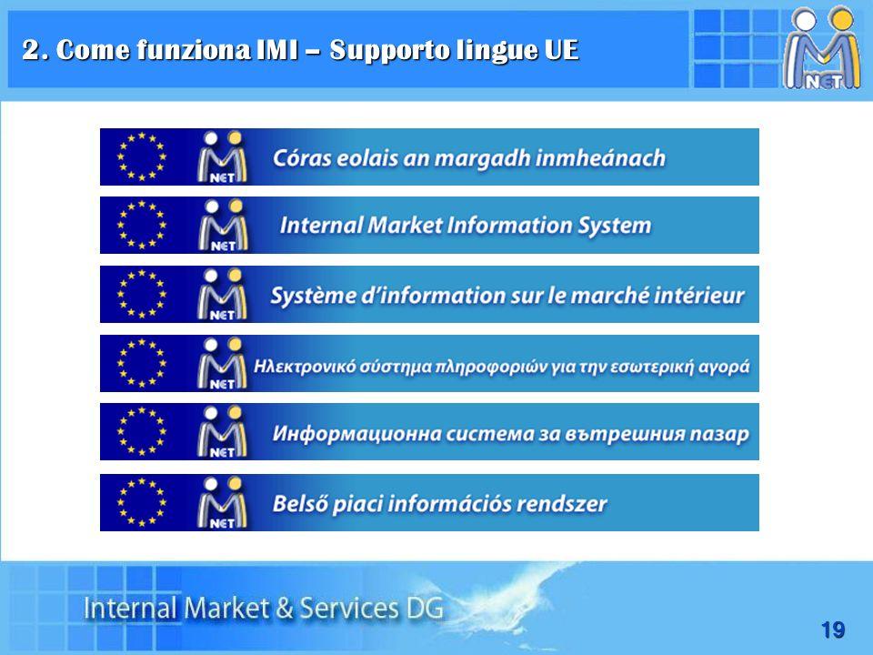 19 2. Come funziona IMI – Supporto lingue UE