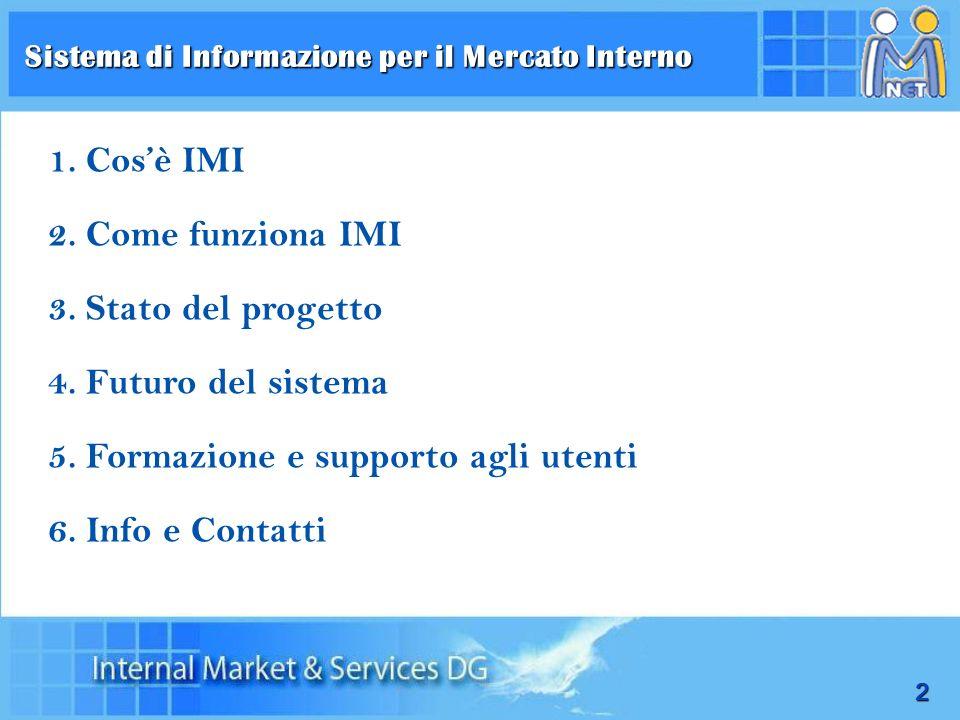2 Sistema di Informazione per il Mercato Interno 1.Cosè IMI 2.Come funziona IMI 3.Stato del progetto 4.Futuro del sistema 5.Formazione e supporto agli
