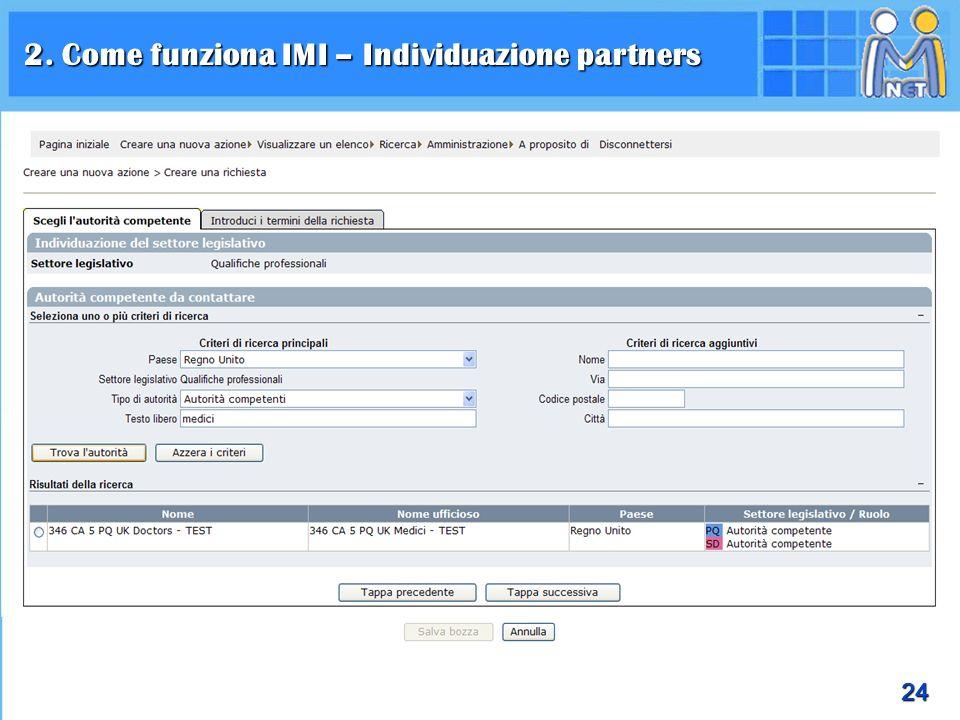 24 2. Come funziona IMI – Individuazione partners
