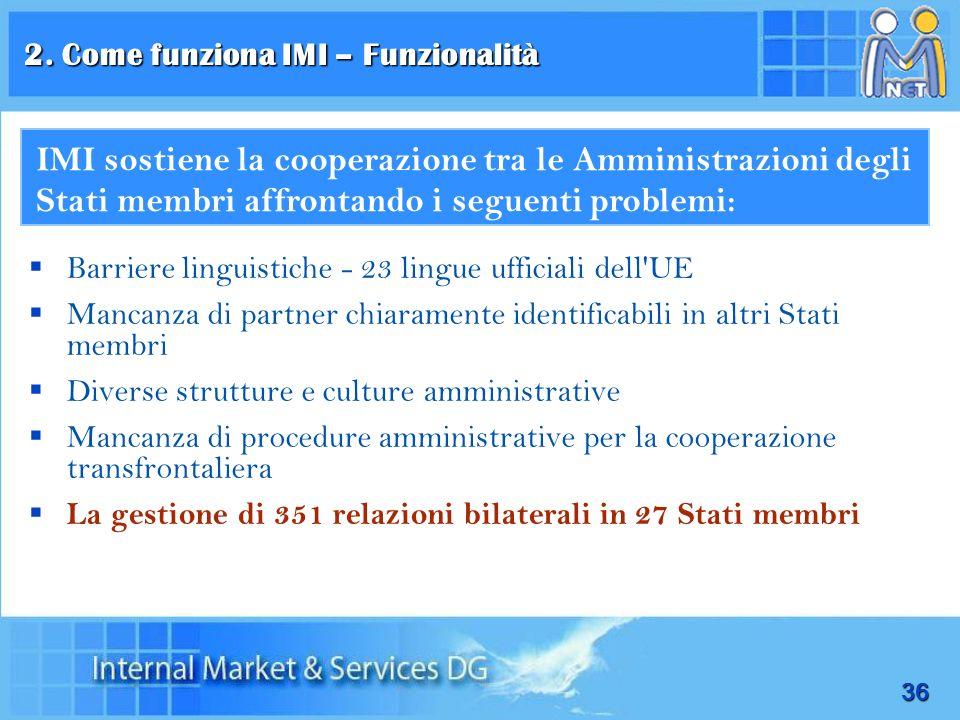 36 Barriere linguistiche - 23 lingue ufficiali dell'UE Mancanza di partner chiaramente identificabili in altri Stati membri Diverse strutture e cultur