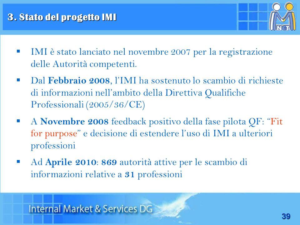 39 IMI è stato lanciato nel novembre 2007 per la registrazione delle Autorità competenti. Dal Febbraio 2008, lIMI ha sostenuto lo scambio di richieste