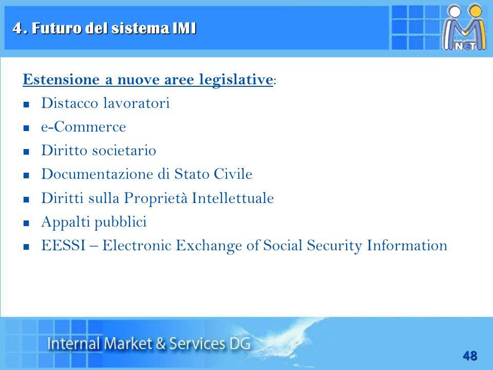 48 Estensione a nuove aree legislative : Distacco lavoratori e-Commerce Diritto societario Documentazione di Stato Civile Diritti sulla Proprietà Inte