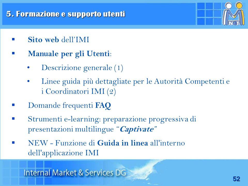52 Sito web dellIMI Manuale per gli Utenti : Descrizione generale (1) Linee guida più dettagliate per le Autorità Competenti e i Coordinatori IMI (2)