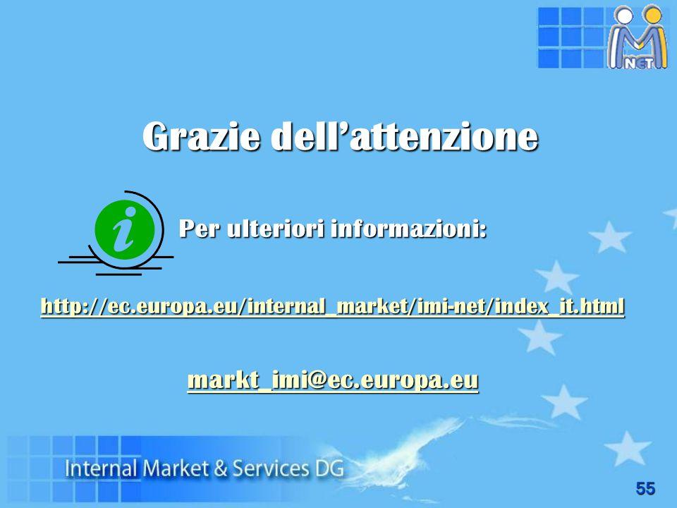 55 Per ulteriori informazioni: http://ec.europa.eu/internal_market/imi-net/index_it.html markt_imi@ec.europa.eu Grazie dellattenzione