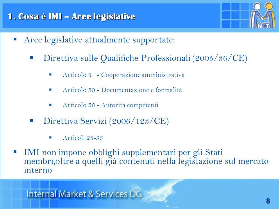 8 Aree legislative attualmente supportate: Direttiva sulle Qualifiche Professionali (2005/36/CE) Articolo 8 - Cooperazione amministrativa Articolo 50