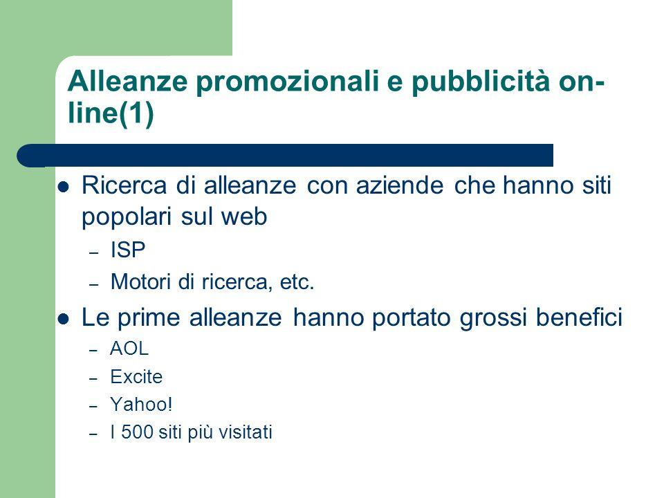 Alleanze promozionali e pubblicità on- line(1) Ricerca di alleanze con aziende che hanno siti popolari sul web – ISP – Motori di ricerca, etc.
