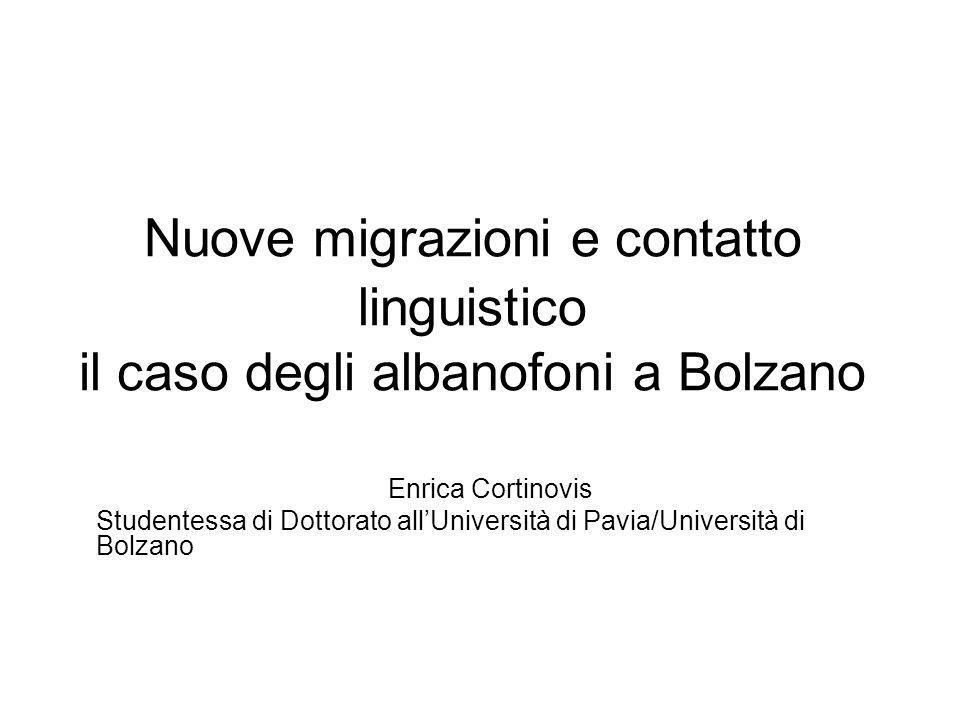 Nuove migrazioni e contatto linguistico il caso degli albanofoni a Bolzano Enrica Cortinovis Studentessa di Dottorato allUniversità di Pavia/Universit