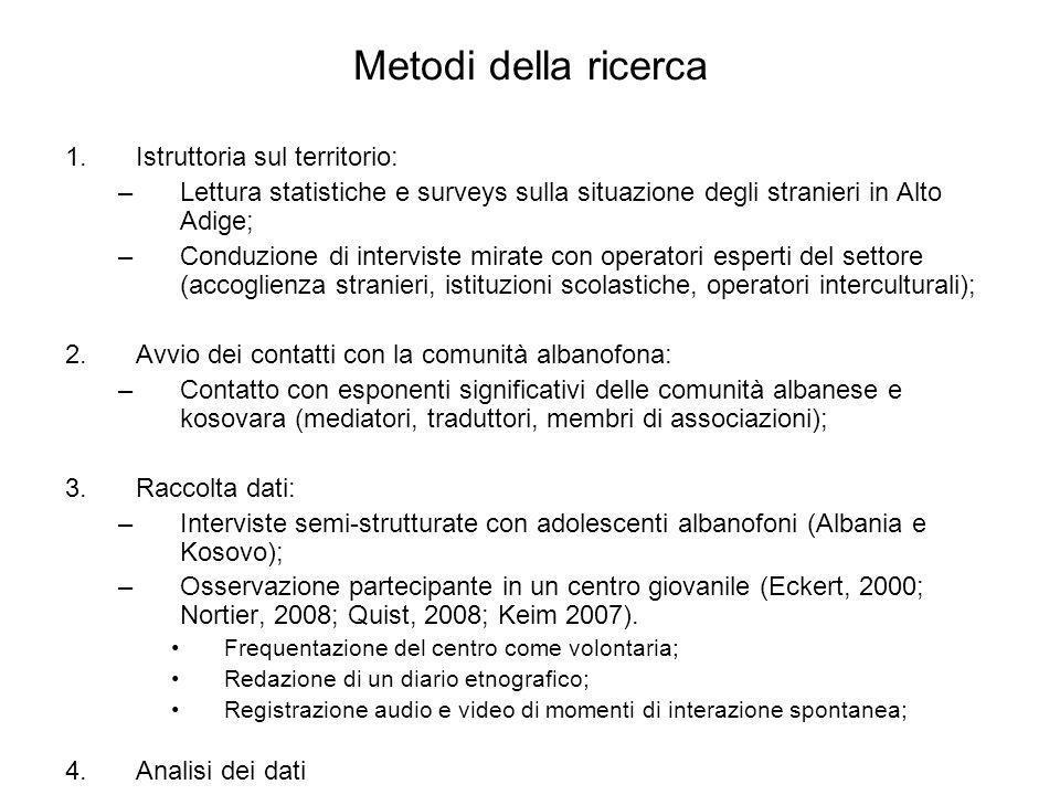 Metodi della ricerca 1.Istruttoria sul territorio: –Lettura statistiche e surveys sulla situazione degli stranieri in Alto Adige; –Conduzione di inter