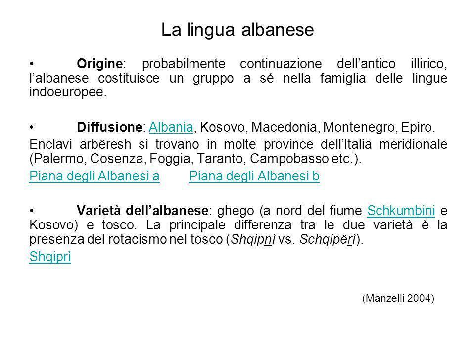 La lingua albanese Origine: probabilmente continuazione dellantico illirico, lalbanese costituisce un gruppo a sé nella famiglia delle lingue indoeuro