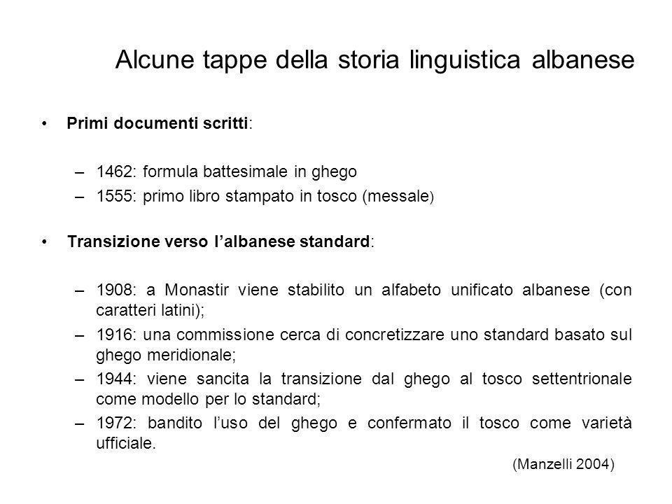 Primi documenti scritti: –1462: formula battesimale in ghego –1555: primo libro stampato in tosco (messale ) Transizione verso lalbanese standard: –19