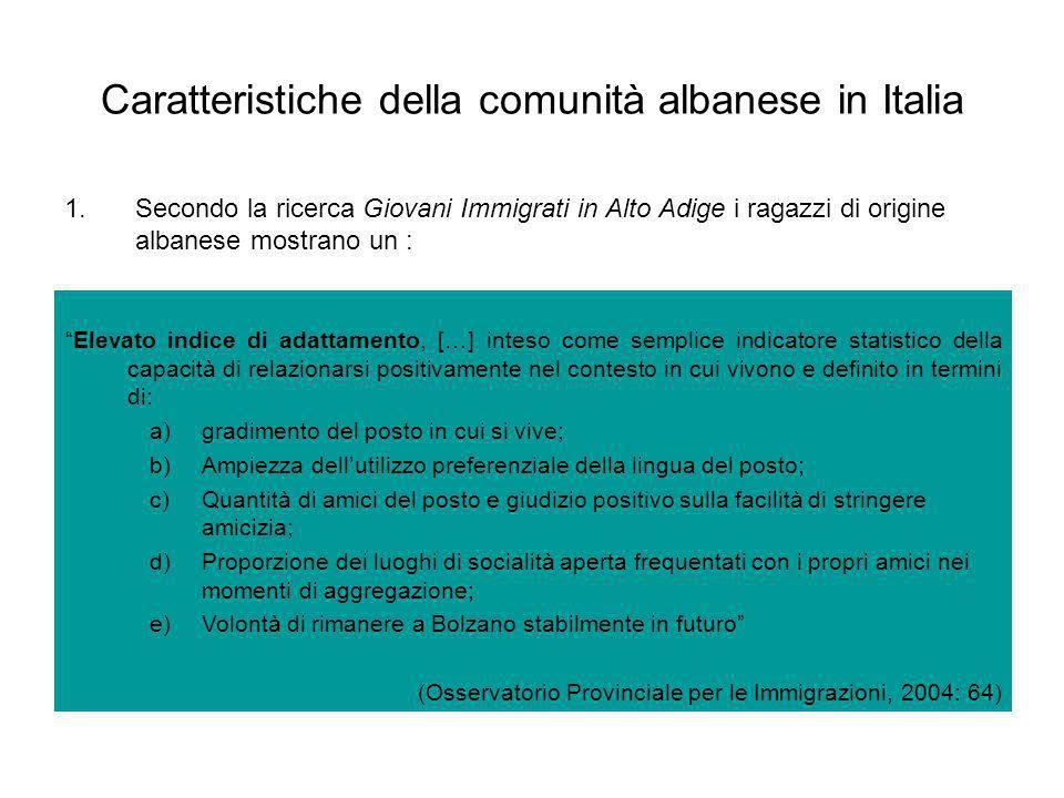 Caratteristiche della comunità albanese in Italia 1.Secondo la ricerca Giovani Immigrati in Alto Adige i ragazzi di origine albanese mostrano un : Ele