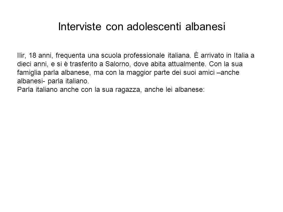 Ilir, 18 anni, frequenta una scuola professionale italiana. È arrivato in Italia a dieci anni, e si è trasferito a Salorno, dove abita attualmente. Co